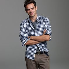 Gingham Shirt with rolled sleeves. Forearms never loooked so good. Gingham - perfect for the office or the fields. #midwest