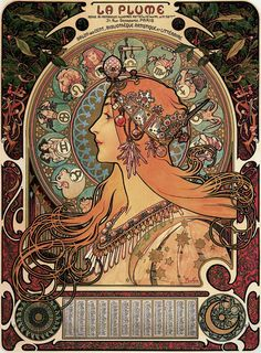 "muchofmucha: "" Alphonse Mucha - Zodiac (1896) ""In this composition, Mucha incorporated twelve zodiac signs in the halo-like disk behind the woman's head, one of Mucha's customary motifs. The majestic beauty of the woman is emphasised by her regal..."