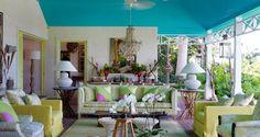 House tour: inside designer Kit Kemp's vividly coloured Barbados home - Vogue Living Caribbean Homes, Caribbean Decor, Indian Doors, Vogue Living, Tropical Landscaping, Barbados, Decoration, House Tours, Interior Design