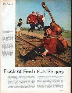 "Description: 1962 FOLK SINGERS vintage magazine article ""Flock of Fresh Folk Singers"" -- * Dave Guard's Whiskeyhill Singers gag up Railroad Bill, an Alabama folk song of the 1890s * Dance, Boatman, Dance by the Smothers Brothers * The Kingston Trio * Limeliters * Peter, Paul and Mary * Joan Baez -- Size: The four-page article includes three full pages and one half page. The dimensions of each full page are approximately 10.5 inches x 13.5 inches (26.75 cm x 34.25 cm). The dimensions of the h..."