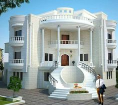 For many living in a modern house is of great importance. The house is a part of art, it is a three-dimensional sculpture,' he states. Classic House Exterior, Classic House Design, Unique House Design, Bungalow House Design, Cool House Designs, Duplex Design, Village House Design, Kerala House Design, House Outside Design