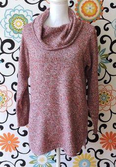 Pure Jill J.Jill Women Red Black Marled Cowl Neck Sweater Size S #JJill #CowlNeck