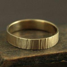 Mannen rustieke Ring mannen gouden Band gouden bast Ring
