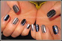 stripe silver nails