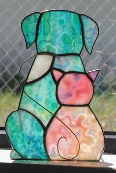 Afbeeldingsresultaat voor stained glass pattern cat and dog