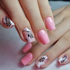 Cute Nails, Pretty Nails, Black And White Nail Art, Pink Black, Flamingo Nails, Extension Designs, Cat Eye Nails, Modern Nails, Flower Nails
