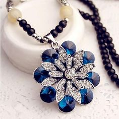 Ailisha Korean Accessory Retro Cat's Eye Crystal Sweater Long Necklace 3118 Petals Royal blue #madeinchina #necklace >http://dxurl.com/RPSq