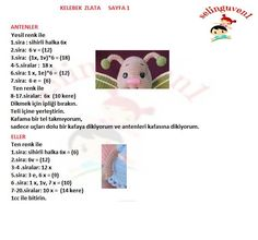 Kelebek Zlata Amigurumi Easy Crochet Patterns, Crochet Animals, Crochet Dolls, Anniversary Cards, Origami, Free Pattern, Projects To Try, Knitting, Toys