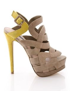Nude & Yellow Cutout Heels ♡ I dont like the yellow buy I love the design of the shoe.