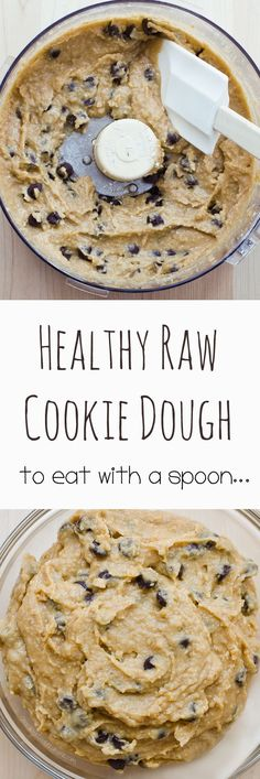 Raw Cookie Dough - Ingredients: 1/2 cup quick oats, 1/3 cup chocolate chips, 2 tsp vanilla extract, 1/4 cup ... Full recipe: http://chocolatecoveredkatie.com/2016/07/11/raw-cookie-dough-recipe/
