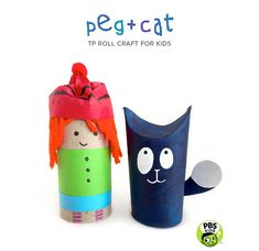 TP Roll Peg + Cat - Young fans of this animated series on PBS KIDS will love making their favorite energetic friends from simple everyday materials from around the house @pbsparents