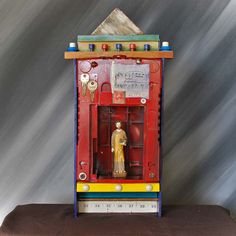 Nicho Altar St Joseph Box Upbeat Assemblage by DianaLaMorrisArt