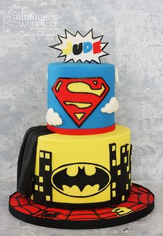 Superhero Birthday Cake - Superman, Batman and Spiderman.