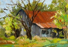 oil paintings landscapes of countysides | KMD2551 Countryside Springtime (landscape, rural, oil painting, barn)
