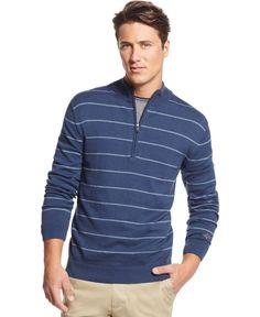 Greg Norman for Tasso Elba Striped Mock-Neck Sweater