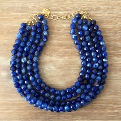 Beaded Statement Necklace, Sapphire Necklace, Blue Necklace, Necklace Designs, Navy Blue, Beads, Jewelery, Gold, Etsy