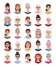 femme visage jeune femme avec divers coiffure et la