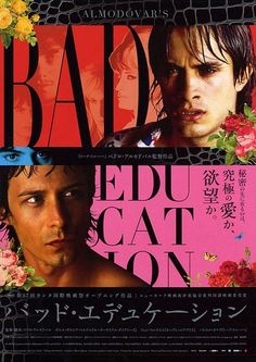 """""""Pedro Almodóvar has toyed with film noir before, most memorably in his 1997 film 'Live Flesh.' But his newest movie, 'Bad Education,' is a. Cinema Posters, Film Posters, Almodovar Films, Bad Education, Foreign Movies, Fun Illustration, Japanese Poster, Movies Showing, Good Movies"""