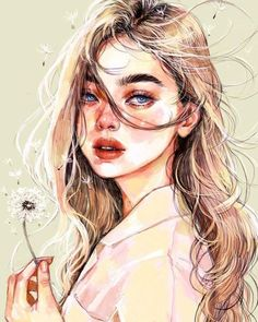Portrait Illustration Make a wish. Digital Art Girl, Digital Portrait, Portrait Art, Art Anime, Anime Art Girl, Manga Girl, Aesthetic Drawing, Aesthetic Art, Pretty Art