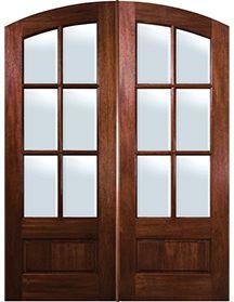 GlassCraft Mahogany Arch Top 6 Lite Double Door glasscraft direct