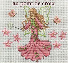 little pink fairy Cross Stitch Designs, Blog, Fairies, Stitches, Angels, Patterns, Summer Wreath, Faeries, Friends