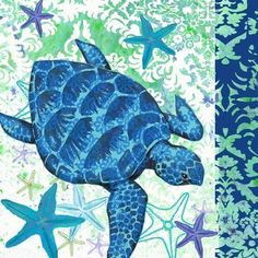 Patterned Blue Turtle by Elena Vladykina T Turtle, Turtle Love, Turtle Pattern, Pattern Art, Beach Clipart, Decoupage Printables, Sea Life Art, Mermaid Fairy, Beach Cottage Decor