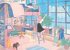 Bedroom window illustration 66 Ideas for 2019 Aesthetic Art, Aesthetic Anime, Korean Aesthetic, Aesthetic Drawing, Pretty Art, Cute Art, Character Illustration, Illustration Art, Character Art