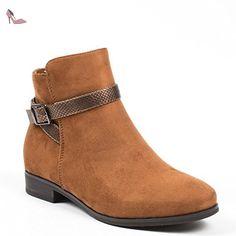 Ideal Shoes, Damen Stiefel & Stiefeletten , Braun - Camel - Größe: 36