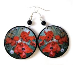 Poppies earrings decoupage floral earrings round by SaboDesign.