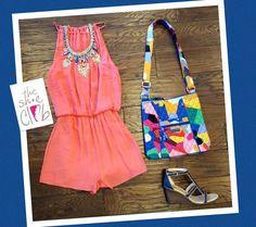Summer colors  Romper $55 Statement Necklace $34 Vera Bradley Hipster Bag $60 Dr Scholls Wedge $108 ☎️ 210-824-9988