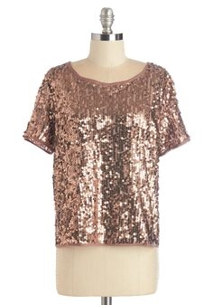 Glitz a Miracle Top. Whenever you deck yourself out in this dazzling taupe top, you marvel at its stunning yet simple style! #copper #modcloth