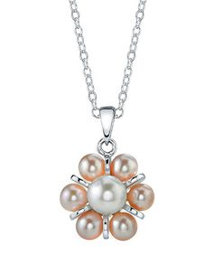 Take a look at this Pink Pearl & Silver Cluster Pendant Necklace by Radiance Pearl on #zulily today! $80 !!