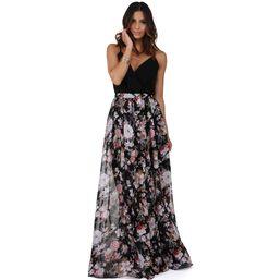 Black Floral Enchantment Skirt