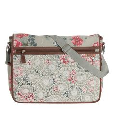 Loving this Gray Floral Messenger Bag on #zulily! #zulilyfinds