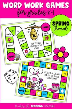 These *spring* word work games for K-1 are fun AND easy to prep! That's a win! They provide sight word and blends/digraphs practice and can be used to jazz up a literacy center or for small group reading instruction. They also make differentiating centers a snap! Library Activities, Classroom Activities, Classroom Ideas, Hive Board Game, 2nd Grade Classroom, Classroom Board, Word Work Games, Spring Words, Blends And Digraphs