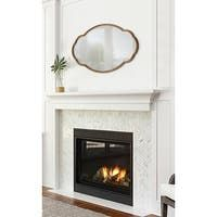 Shop Kate and Laurel Leanna Scalloped Oval Wall Mirror - Gold - 24x36 - Overstock - 31288732 Fireplace Remodel, Fireplace Mantle, Fireplace Update, Fireplace Design, Above Fireplace Ideas, Mirror Above Fireplace, Mantle Ideas, Fireplace Surrounds, Gold Frame Wall