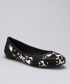 Take a look at this White & Black Haircalf Robin Ballet Flat by Calvin Klein Jeans on #zulily today!