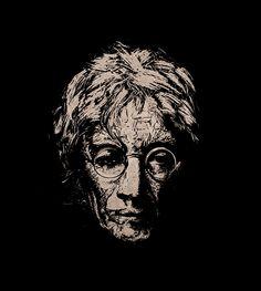 John Lennon - Forever Old by teokon, Handmade woodcut 26x30 cm.