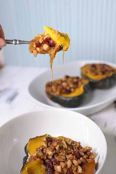 You haven't experience acorn squash like this! All the flavors of Fall in one bite. Apples, squash, walnuts, and cinnamon all combine to make a mouthful to remember.