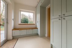 Little Greene Drizzle & Hicks Blue, hand painted, bespoke kitchen, Made in Kent
