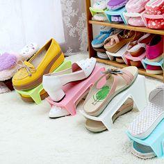 Sepatu Fashion Sepatu Plastik Rak Berdiri Menghemat Ruang Lemari Sepatu penyimpanan Rak Rak Singkat untuk Sepatu Pink Biru Coklat Hijau putih