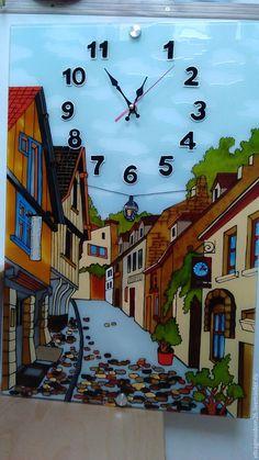 Купить часы настенные Старые улочки - комбинированный, часы настенные, часы интерьерные, часы необычные
