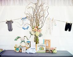 This was for a baby shower- they incorporated all different bunny themed books: Peter Rabbit, Pat the Bunny, Guess How Much I Love you... So cute!