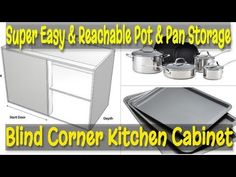 Kitchen Organizing- Super Easy & Reachable Pot & Pan Storage (Kitchen Blind Corner Cabinet) We all have that bottom kitchen corner cabinet (Blind kitchen cor. Pan Organization, Kitchen Cabinet Organization, Kitchen Storage, Organizing, Kitchen Cabinets, Blind Corner Cabinet, Pan Storage, Kitchen Blinds, Small Doors