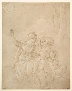 Francesco Primaticcio, 1504-1570, Italian, Classical Female Figure (Diana or Venus) with Two Infants, c.1539-42.  Pen and brown ink, highlighted with white gouache, over traces of black chalk, stylus and compass construction; traces of squaring in black chalk: 25.2 x 20.1 cm.  Metropolitan Museum of Art, New York.  Mannerism.