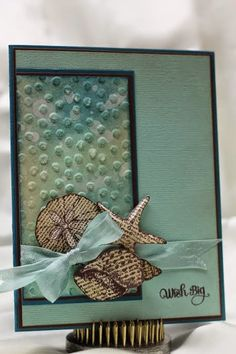 handmade card from ink, paper, scissors-stamp!: by the seashore-fms #130 ...luv the coloring on the main panel with the large dot embossing folder texture ... looks like the ocean around here ...