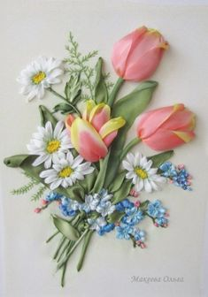 Wonderful Ribbon Embroidery Flowers by Hand Ideas. Enchanting Ribbon Embroidery Flowers by Hand Ideas. Ribbon Embroidery Tutorial, Hand Embroidery Art, Silk Ribbon Embroidery, Embroidery Patterns, Embroidery Stitches, Ribbon Art, Diy Ribbon, Embroidery For Beginners, Embroidery Techniques