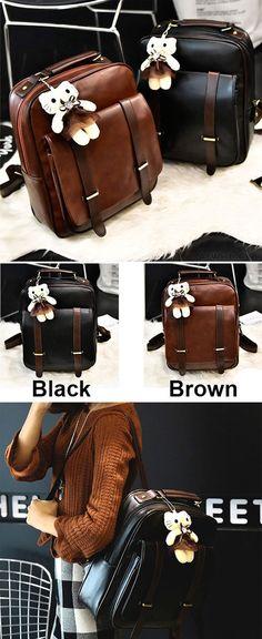 7e206986d6 Retro Zipper Flap Splicing Belt Metal Lock Brown Bag Black Square PU School  Backpack for big