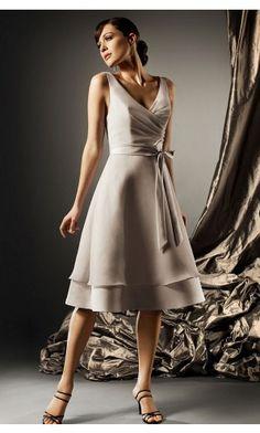 sku:dt00252; Silhouette:A-line; Hemline:Tea-length; Fabric:Satin; Back Details:Zipper; Neckline:Deep V-neck; Waist:Natural; Colour:Champagne; Sleeve Length:Sleeveless;