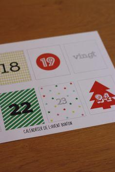 Calendrier de l'Avent Bonton, Planche à imprimer / Free printable